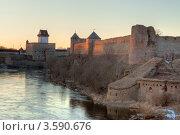 Купить «Вид на Ивангородскую крепость и Нарвский замок», эксклюзивное фото № 3590676, снято 4 апреля 2012 г. (c) Литвяк Игорь / Фотобанк Лори