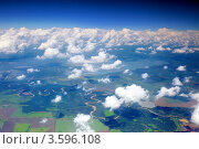 Купить «Вид на землю из салона самолёта», фото № 3596108, снято 31 мая 2012 г. (c) Vitas / Фотобанк Лори