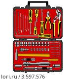 Купить «Набор различных инструментов в коробке», иллюстрация № 3597576 (c) Фотограф / Фотобанк Лори