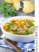 Купить «Суп с фрикадельками», эксклюзивное фото № 3597716, снято 31 мая 2012 г. (c) Александр Курлович / Фотобанк Лори