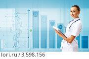 Купить «Медицина и технологии. Молодой врач на интерактивном фоне», фото № 3598156, снято 16 апреля 2012 г. (c) Sergey Nivens / Фотобанк Лори