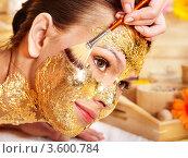 Купить «Девушке наносят золотую маску на лицо», фото № 3600784, снято 20 апреля 2012 г. (c) Gennadiy Poznyakov / Фотобанк Лори