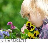 Купить «Белокурая девочка нюхает желтые цветы в саду», фото № 3602788, снято 20 мая 2012 г. (c) Дмитрий Наумов / Фотобанк Лори
