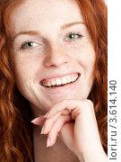 Купить «Зеленоглазая девушка с веснушками», фото № 3614140, снято 27 ноября 2010 г. (c) Татьяна Макотра / Фотобанк Лори
