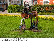 Купить «Декоративная фигура собаки из металла в сквере на центральной площади Рославля», фото № 3614740, снято 9 июля 2011 г. (c) Олег Тыщенко / Фотобанк Лори