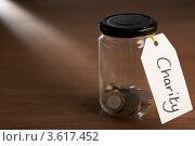 """Купить «Монетки в банке с ярлыком """"Благотворительность""""», фото № 3617452, снято 24 августа 2011 г. (c) Monkey Business Images / Фотобанк Лори"""