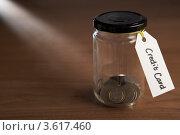 """Купить «Монетки в банке с ярлыком """"Кредитная карта""""», фото № 3617460, снято 24 августа 2011 г. (c) Monkey Business Images / Фотобанк Лори"""