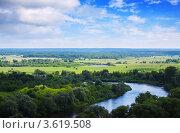 Летний пейзаж с рекой, вид сверху. Стоковое фото, фотограф Яков Филимонов / Фотобанк Лори