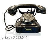 Купить «Старый дисковый телефон на белом фоне», фото № 3633544, снято 18 ноября 2010 г. (c) Losevsky Pavel / Фотобанк Лори