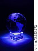 Стеклянный земной шар в синей подсветке. Стоковое фото, фотограф Losevsky Pavel / Фотобанк Лори