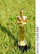 Купить «Сувенир в виде статуэтки Оскар стоит на траве», фото № 3634868, снято 14 августа 2010 г. (c) Losevsky Pavel / Фотобанк Лори