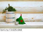 Купить «Деревянное ведро с хвойным веником на деревянной скамье», фото № 3635044, снято 26 марта 2011 г. (c) Losevsky Pavel / Фотобанк Лори