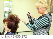 Купить «Молодая парикмахер делает клиентке укладку», фото № 3635272, снято 18 мая 2011 г. (c) Losevsky Pavel / Фотобанк Лори