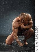 Купить «Мускулистый мужчина бьет кулаком по воде», фото № 3635564, снято 2 апреля 2011 г. (c) Losevsky Pavel / Фотобанк Лори