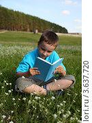 Купить «Мальчик читает книгу на природе», фото № 3637720, снято 25 июня 2012 г. (c) Елена Блохина / Фотобанк Лори