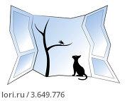 Силуэт птицы на дереве и кошки в окне. Стоковая иллюстрация, иллюстратор Юлия Копачева / Фотобанк Лори
