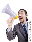 Бизнесмен в костюме кричит в громкоговоритель. Стоковое фото, фотограф Elnur / Фотобанк Лори