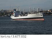 Купить «Грузовое судно в Амурском заливе», эксклюзивное фото № 3677032, снято 18 июля 2012 г. (c) Валерий Акулич / Фотобанк Лори