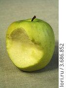 Купить «Надкусанное зеленое яблоко», фото № 3686852, снято 1 мая 2010 г. (c) Александр Скопинцев / Фотобанк Лори