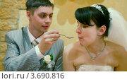 Купить «Жених и невеста сидят за свадебным столом», видеоролик № 3690816, снято 17 марта 2010 г. (c) Losevsky Pavel / Фотобанк Лори