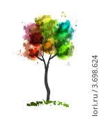 Радужное дерево стилизованное под акварель. Стоковая иллюстрация, иллюстратор Евгения Малахова / Фотобанк Лори