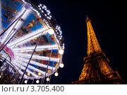 Эйфелева башня вечером, г. Париж (2012 год). Редакционное фото, фотограф Инна Касацкая / Фотобанк Лори