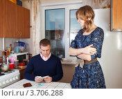 Купить «Финансовые проблемы. Жена смотрит на мужа, считающего деньги», фото № 3706288, снято 15 января 2012 г. (c) Яков Филимонов / Фотобанк Лори