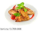 Куриные крылышки с базиликом и помидорами. Стоковое фото, фотограф Лариса Кривошапка / Фотобанк Лори