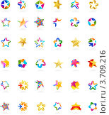 Набор разнообразных абстрактных звезд на белом фоне. Стоковая иллюстрация, иллюстратор Marina Zlochin / Фотобанк Лори