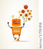 Приветливый оранжевый робот в букетом цветов. Стоковая иллюстрация, иллюстратор Marina Zlochin / Фотобанк Лори