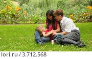 Купить «Родители играют с дочкой на траве в парке летом», видеоролик № 3712568, снято 28 октября 2010 г. (c) Losevsky Pavel / Фотобанк Лори