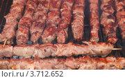 Купить «Крупным планом шашлык жарится на огне в мангале», видеоролик № 3712652, снято 19 декабря 2010 г. (c) Losevsky Pavel / Фотобанк Лори