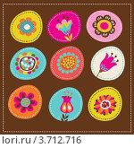 Набор стилизованных декоративных цветов. Стоковая иллюстрация, иллюстратор Marina Zlochin / Фотобанк Лори