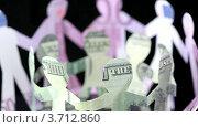 Купить «Человечки из долларов и евро держатся за руки», видеоролик № 3712860, снято 14 октября 2010 г. (c) Losevsky Pavel / Фотобанк Лори