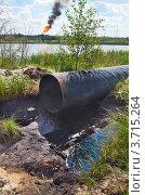 Купить «Труба нефтепровода с разлитой вокруг нефтью», фото № 3715264, снято 1 августа 2012 г. (c) Икан Леонид / Фотобанк Лори