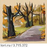 Осенний парк. Набросок маслом. Стоковая иллюстрация, иллюстратор Julia Shepeleva / Фотобанк Лори