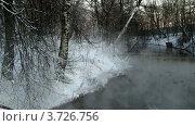 Купить «Пар над зимней рекой», видеоролик № 3726756, снято 18 декабря 2009 г. (c) Egorius / Фотобанк Лори