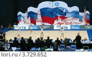 Купить «Фронтальный вид гимнасток с обручами на XXX Чемпионате мира по художественной гимнастике», видеоролик № 3729652, снято 12 декабря 2010 г. (c) Losevsky Pavel / Фотобанк Лори