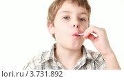 Купить «Мальчик на белом фоне ест леденец на палочке», видеоролик № 3731892, снято 25 апреля 2011 г. (c) Losevsky Pavel / Фотобанк Лори
