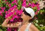 Красивая девушка на фоне цветов бугенвилии в Турции, фото № 3734232, снято 16 сентября 2009 г. (c) ElenArt / Фотобанк Лори