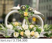 Купить «Свадебные кольца на машине», эксклюзивное фото № 3734300, снято 7 июля 2012 г. (c) Михаил Ворожцов / Фотобанк Лори