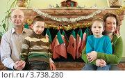 Купить «Брат и сестра сидят с родителями перед камином», видеоролик № 3738280, снято 26 мая 2007 г. (c) Losevsky Pavel / Фотобанк Лори