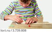 Купить «Мальчик приклеивает хвост к деревянной модели самолета», видеоролик № 3739808, снято 7 августа 2011 г. (c) Losevsky Pavel / Фотобанк Лори
