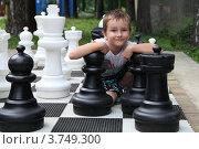 Купить «Мальчик с большими шахматами», фото № 3749300, снято 25 июля 2012 г. (c) Елена Блохина / Фотобанк Лори