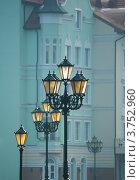 Купить «Уличные фонари на набережной Рыбной деревни, Калининград», фото № 3752960, снято 7 ноября 2010 г. (c) Юлия Белоусова / Фотобанк Лори