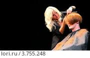 Купить «Стилист Соболева Евгения делает прическу», видеоролик № 3755248, снято 28 ноября 2011 г. (c) Losevsky Pavel / Фотобанк Лори