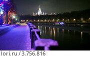 Купить «Теплоход украшенный гирляндами плывет по реке», видеоролик № 3756816, снято 10 ноября 2011 г. (c) Losevsky Pavel / Фотобанк Лори