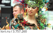 Купить «Модель в костюме из водорослей», видеоролик № 3757260, снято 30 сентября 2011 г. (c) Losevsky Pavel / Фотобанк Лори