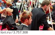 Купить «Парикмахеры делают прически  на XVII Международном фестивале Мир красоты 2010», видеоролик № 3757308, снято 30 сентября 2011 г. (c) Losevsky Pavel / Фотобанк Лори