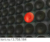 Купить «Уникальный звук. Уникальный красный динамик среди обычных черных», иллюстрация № 3758184 (c) Арсений Герасименко / Фотобанк Лори